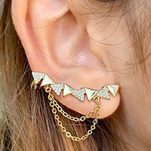 Gold Filled Cubic Zirconia Ear Climber